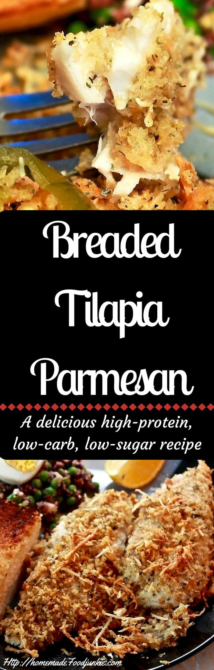 Breaded Tilapia Parmesan a delicious high-protein, low-carb, low-sugar recipe http://homemadeFoodjunkie.com