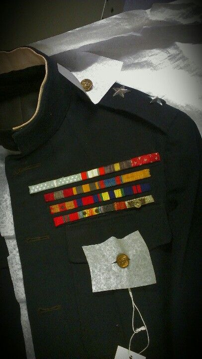 These dress blues belonged to Major General Smedley Butler. During his 34-year career as a Marine, he participated in military actions in the Philippines, China, in Central America and the Caribbean during the Banana Wars, and France in World War I. He is the only man to earn the Brevet Medal and two Medals of Honor, all for separate actions. He is said to have had a large eagle, globe and anchor tattooed on his chest. Semper Fidelis  #USMC #USA #Marines #MOH #SmedleyButler #SpanAm #Gitmo…