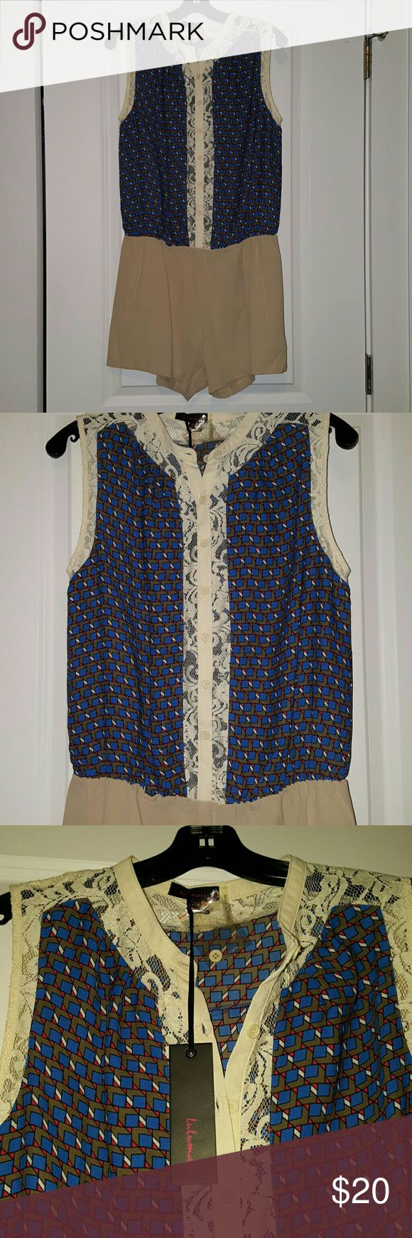 """Lulumari print and lace sleeveless romper Size L Gorgeous sleeveless shorts romper, geo print and contrast lace trim, shorts have pockets! Lace is see through down front. Size L but fits like M. 19""""flat across chest, 15"""" waist stretches to 19"""",    12"""" short. Anthropologie Shorts"""