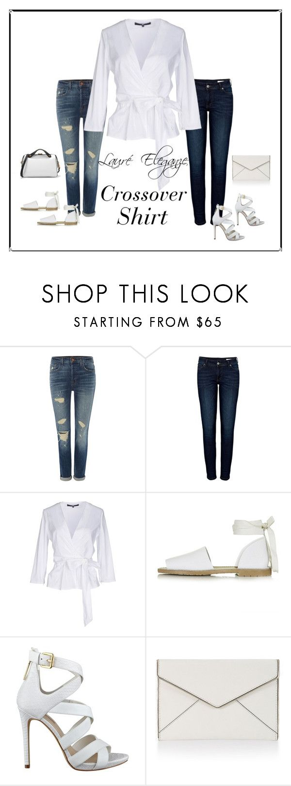 """""""The White Crossover Shirt..."""" by rene-clarke ❤ liked on Polyvore featuring J Brand, Anine Bing, Elisabetta Franchi, Topshop, GUESS, Rebecca Minkoff and CHARLES & KEITH"""