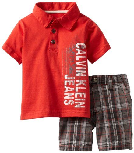 Calvin Klein Baby-boys Infant Polo Shirt With Plaided Shorts $21.00