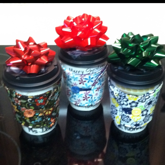 "Teacher gifts! Disposable coffee cup filled with candy and a coffee gift card. ""wrapped"" in a reusable fabric java sleeve with a bow on top!"