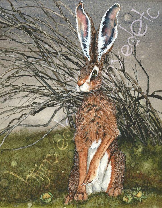 Le tel lièvres 7 emmêlés aquarelle lièvre Print par HijinxedEtc
