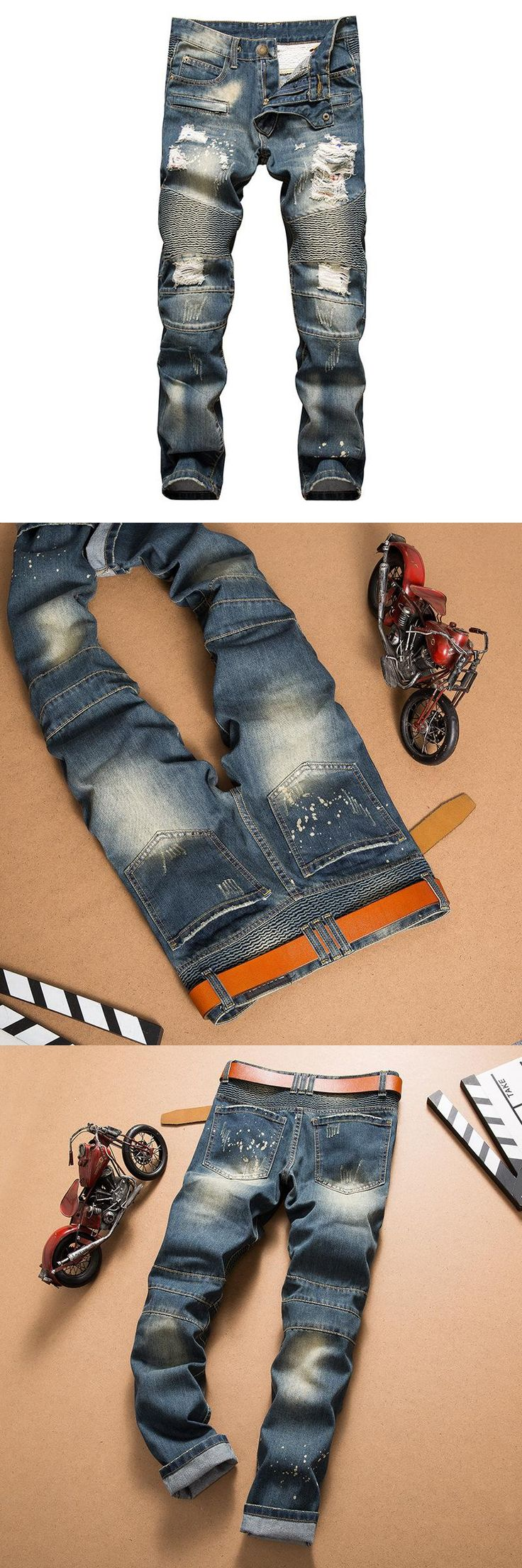 mens ripped jeans pantacourt homme fake designer clothes Men's Scratch Jeans Distressed biker jeans