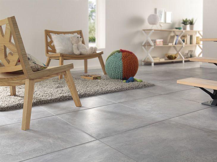 Carrelage d'intérieur Leroy Merlin imitation béton grand format - Jolie alliance avec le bois.