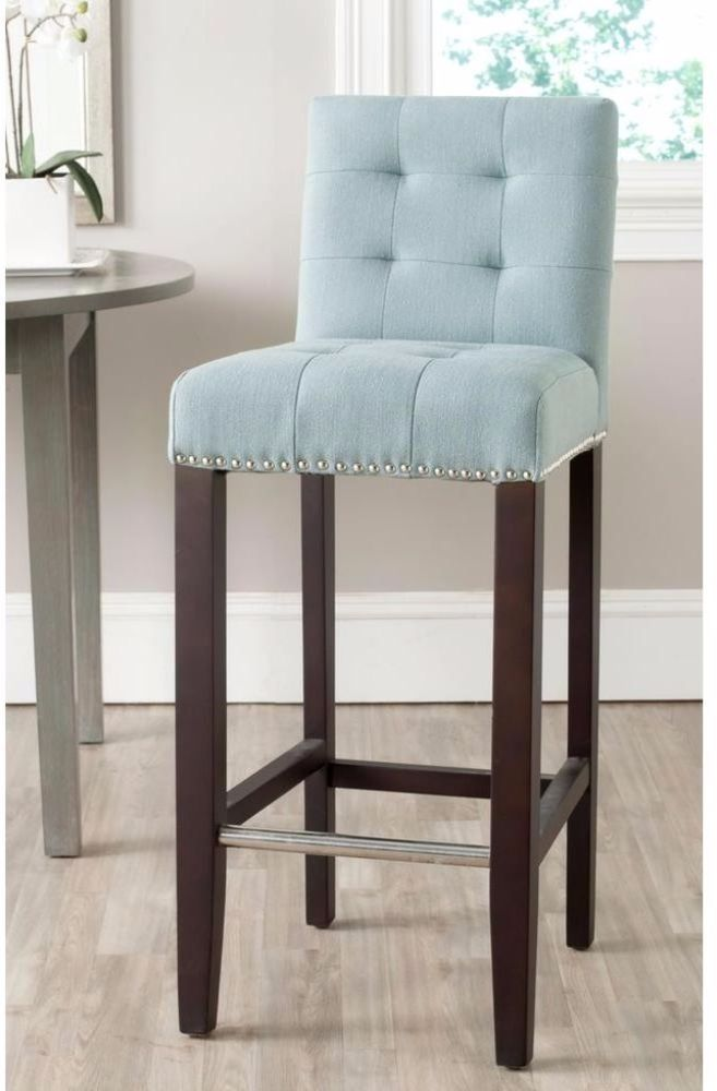 Sky Blue Cushioned Bar Stool Fully Upholstered Dining Furniture