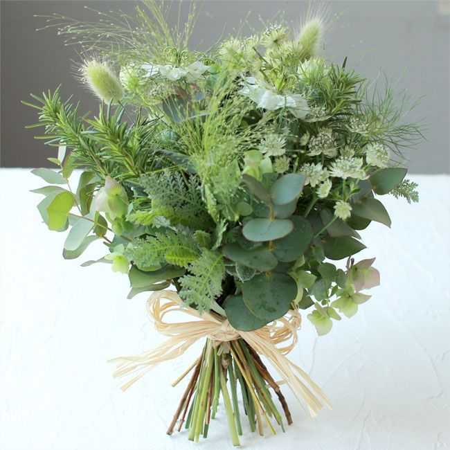 nice herb bouquet! If you want to go all greens for the bridesmaids.