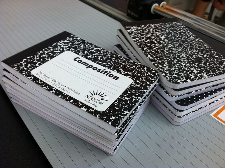 Office Max will cut composition books in half... Great idea since students do not use the whole page in a journal!