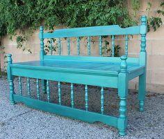 upcycled antik ágykeret padon, diy, kerti bútorok, festett bútorok, repurposing értéknövelő újrahasznosítás, rusztikus bútorok