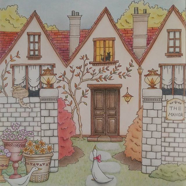 """The Manor House"" from #romanticcountry by #eriy  個人的大作!!かなり描き込みました! ただ、白い塀のつもりが完全に塗り忘れみたいになってるちゃんと陰影付けたのにな  #ロマンティックカントリー #ここっと #大人の塗り絵 #塗り絵本 #塗り絵 #色鉛筆 #油性色鉛筆 #ファーバーカステル #ポリクロモス #コロリアージュ #coloringbookforadults #coloring #coloredpencils #coloringbook #fabercastell #polychromos #coloriage #fabercastellpolychromos"