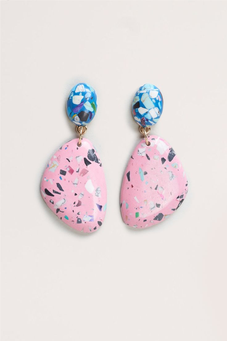 - Resin 'terrazzo' look stone earrings.  - Earrings measure 6cm long.  - Surgical steel earring posts.