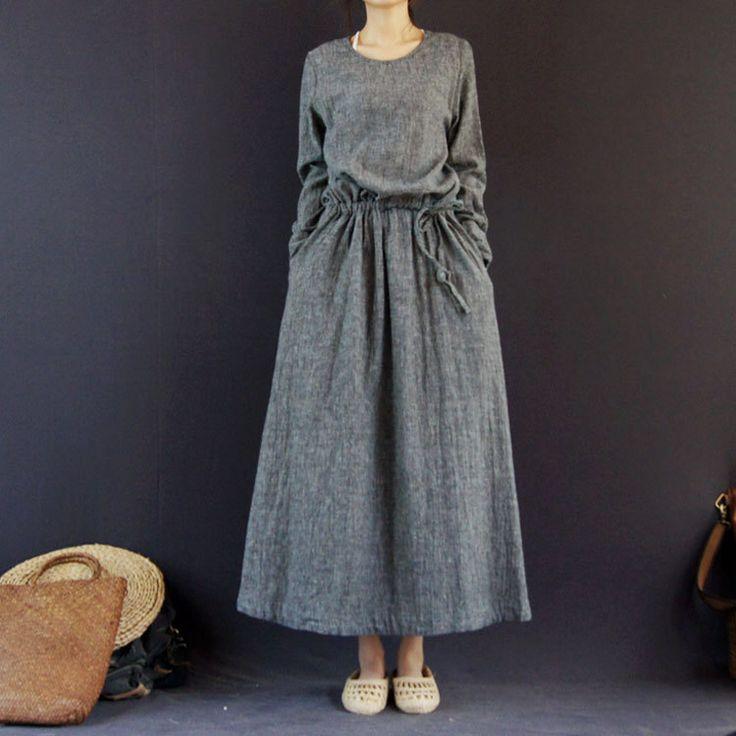 2013 Autumn New Style Original Creation Designer Maxi Dresses Freeshiping Casual Dress Big Size High Quality Linen Long Dresses