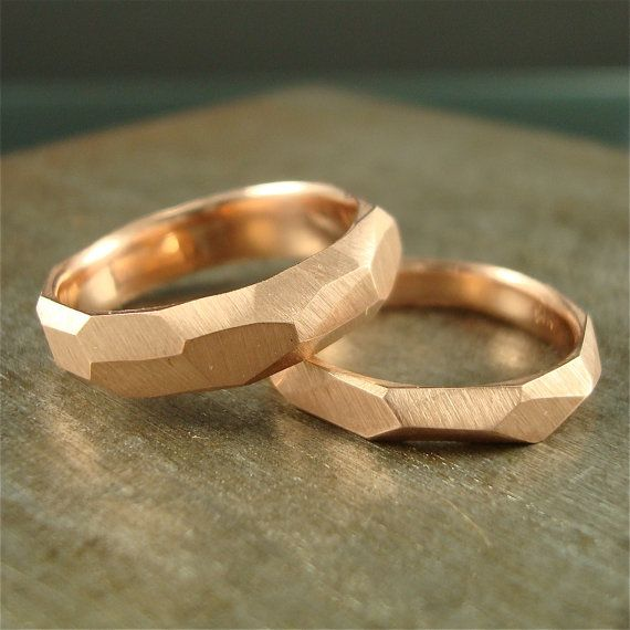 14k rose gold - Chiseled Ring - 5mm wide. Anniversary idea.....