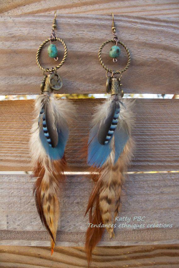 Boucles d'oreille ethnique plumesAlyssa par Tendancesethniques