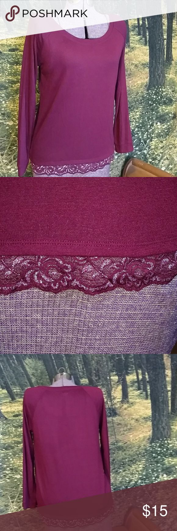 Fitted long sleeve T-shirt Magenta Light weight, soft, lace trim detail along waist. aerie Tops Tees - Long Sleeve