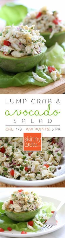 Avocado and Lump Crab Salad: This light crab salad is made with lime juice, olive oil, cilantro and red onion, then stuffed into an avocado.