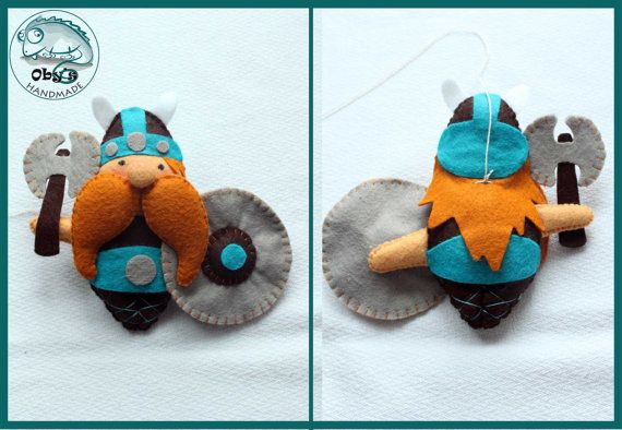 Felt Vikings man/woman or customizable for crib by Obyshandmade