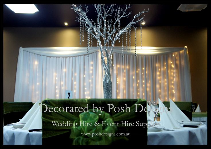 Lime green organza sashes, black lycra chair covers, silver willow table centres, backdrop with fairy lights - #wedding and #event #theming available at #poshdesignsweddings - #sydneyweddings #countryweddings #southcoastweddings #wollongongweddings All stock owned by Posh Designs Wedding & Event Supplies - lisa@poshdesigns.com.au,  www.poshdesigns.com.au or www.facebook.com/poshdesigns.com.au #Wedding #reception #decorations #Outdoor #ceremony decorations #Corporate #event decoration