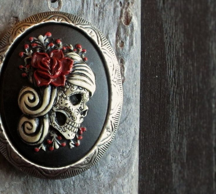 Hand-painted sugar skull cameo locket necklace in antique silver