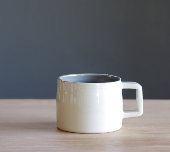 White Porcelain Mug With Grey Interior Glaze By Vitrifiedstudio 40 00 Clay Pinterest Ceramics Mugs And