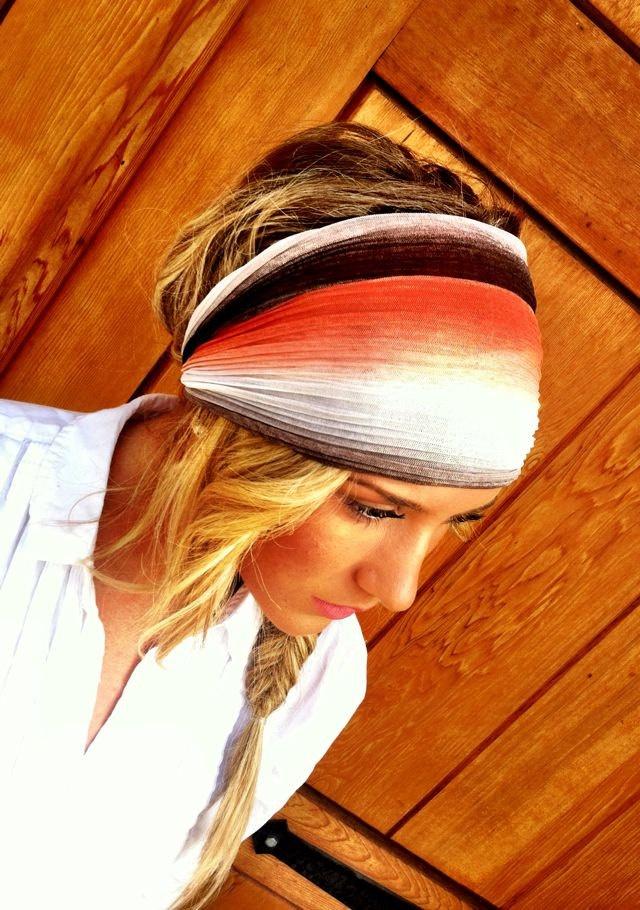 Coral Stretchy Headband Gradient Gauze Women's by ThreeBirdNest. $22.50, via Etsy.