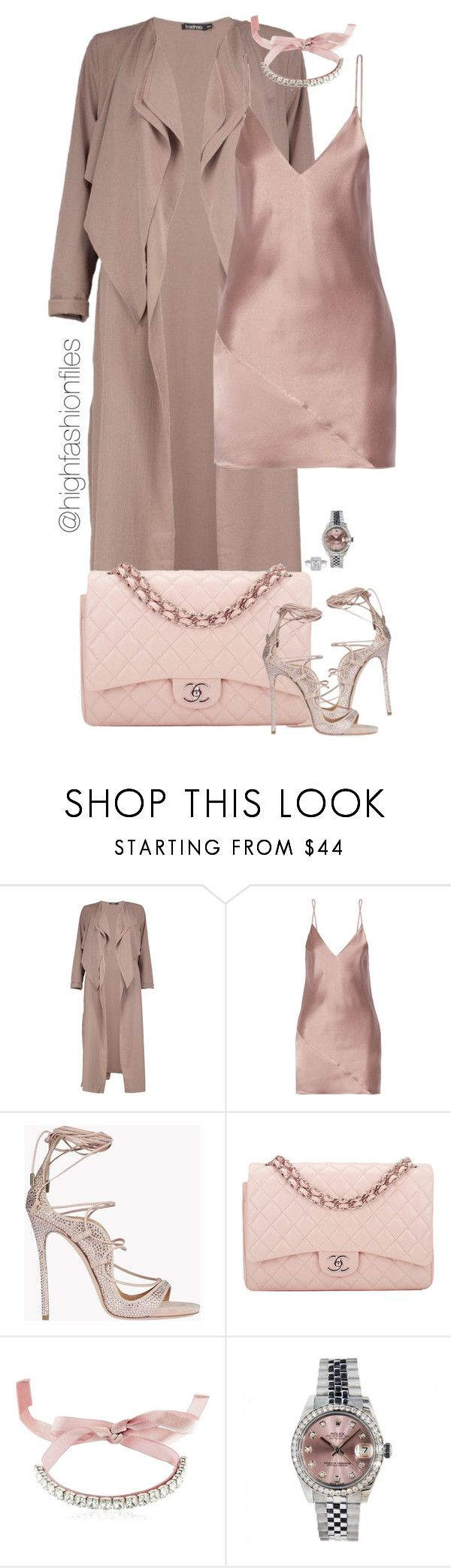 """Untitled #2745"" by highfashionfiles ❤ liked on Polyvore featuring Boohoo, Fleur du Mal, Dsquared2, Chanel, Giuseppe Zanotti and Rolex"