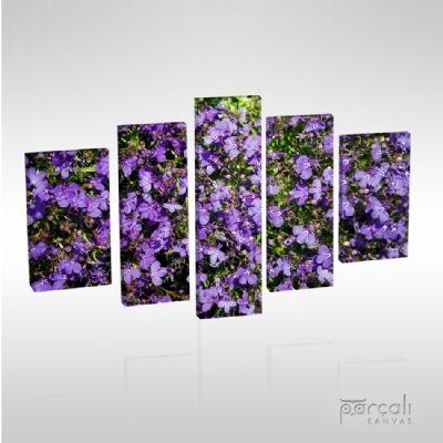 Mor Çiçekler Kanvas Tablo (5K175) | Parçalı Kanvas Tablolar, 3 parçalı kanvas tablolar, 5 parçalı kanvas tablolar