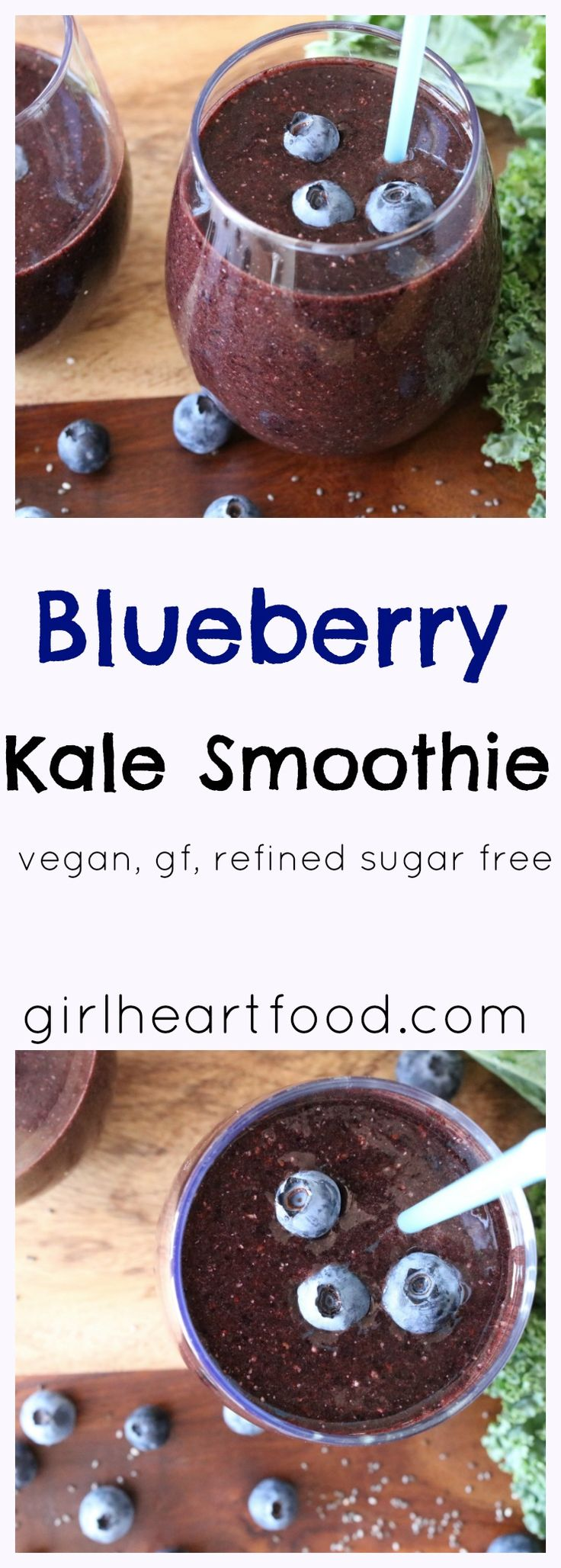 This Blueberry Kale Smoothie tastes delicious and is packed with goodness {vegan, gluten free, dairy free, refined sugar free} - girlheartfood.com
