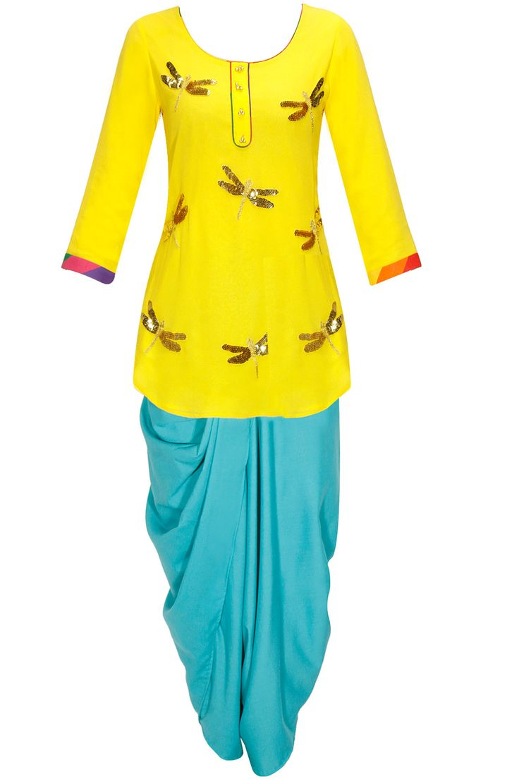 Yellow dragonfly kurta with sky blue dhoti pants and dupatta by Ayinat. Shop now: http://www.perniaspopupshop.com/designers/ayinat #kurta #dhoti #ayinat #shopnow #perniaspopupshop