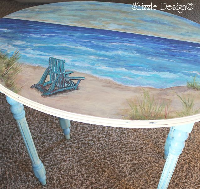 Mark 6 31 Quiet Place oval side table with beach scene hand painted for Shizzle Design Laurie Miller CeCe Caldwells chalk clay Paint Acrylic Painting Satin Finish 2 Shizzle Design hand painted furniture chalk clay paint ideas color inspiration Holland, Grand Rapids, Rockford Michigan http://shizzle-design.com/painted-furniture-for-sale