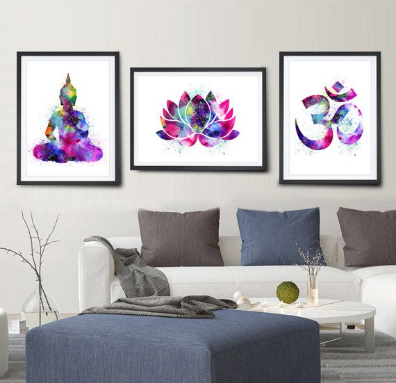 Buy 2 Get 1 FREE Buddha Watercolor Art Om Symbol от FineArtCenter