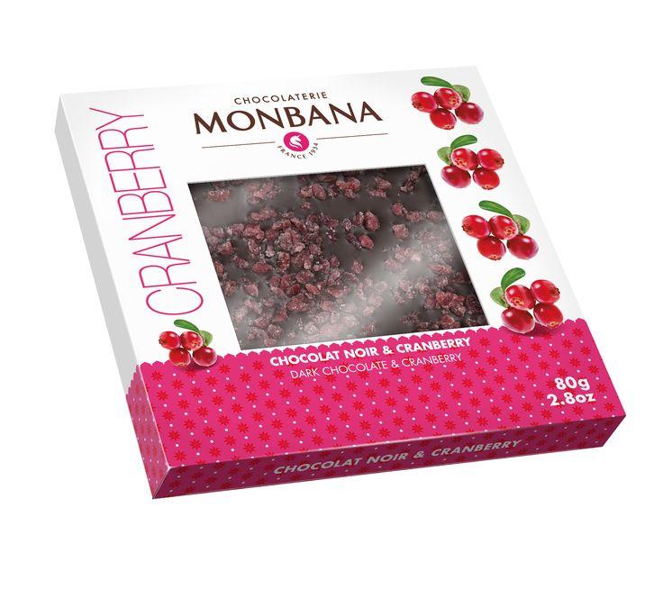 Impossible de résister à la tablette fruitée Cranberries et chocolat Noir 65% de Monbana !   Disponible à 4,10€ dans les magasins Monbana et sur http://boutique.monbana.com/