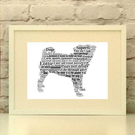 Pug Dog Personalised Print custom pet portrait pug portrait