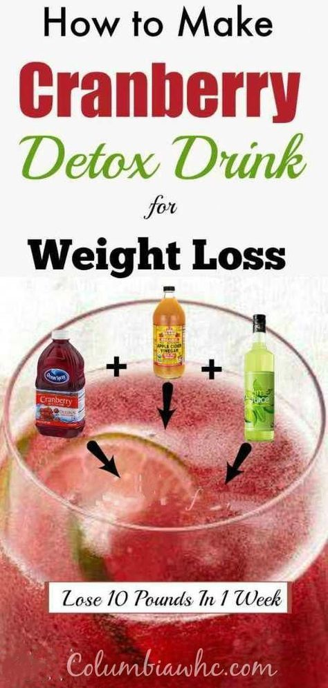 Cranberry Juice Apple Cider Vinegar Detox Drink For Fat Burning and Weight loss #detoxwaterforhealth