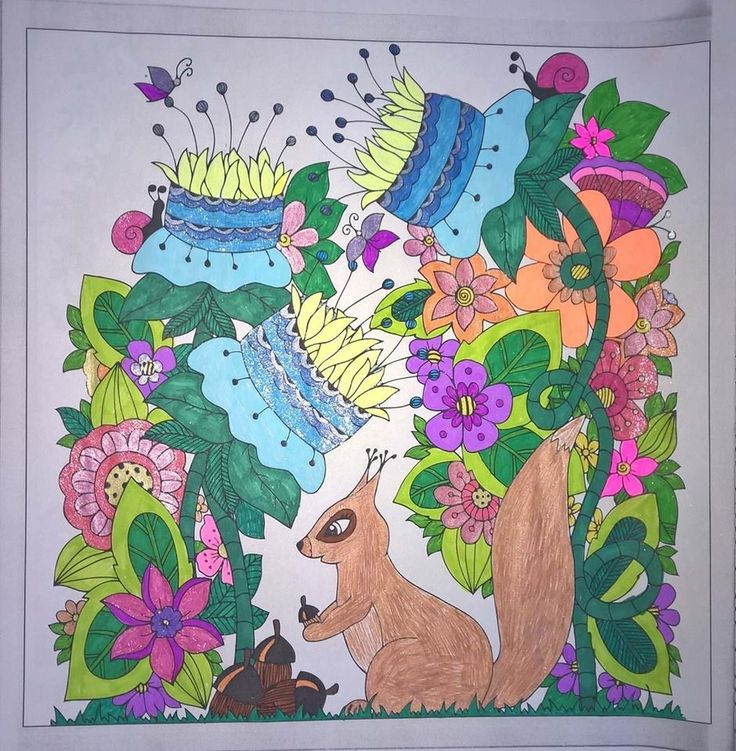 Squirrel, flowers, masts, snails #colouringbooks #colouringforadults #adultcolouring #adultcoloring #stressfree #relaxing #blending