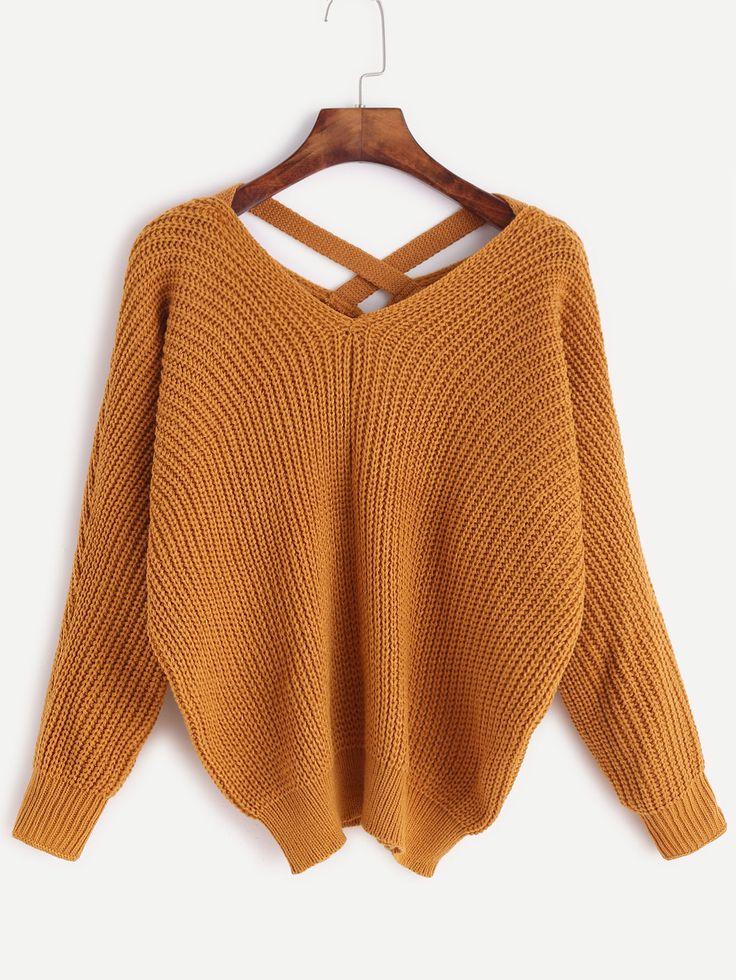 Negozio Maglione Scollo V Incrociato Indietro - Khaki on-line. SheIn offre Maglione Scollo V Incrociato Indietro - Khaki & di più per soddisfare le vostre esigenze di moda.