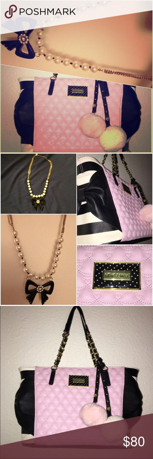 """Betsey Johnson 💕 Large Bag w/Poms & Bow Necklace Double duty Betsey Johnson! Adorable retro-style bow, rhinestone and pearl necklace & large shoulder bag with poms! Both excellent condition - the handbag is pristine! Bag has three pockets inside and two side pockets on the outside. It measures 9""""h x 12""""w x 6""""d. The poms are removable. Necklace measures 16"""" with a 3"""" extension. Betsey Johnson Bags Shoulder Bags"""
