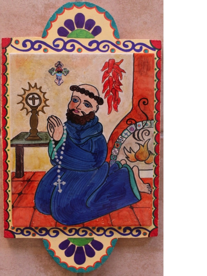 Hand-painted on tile San Pasqual Retablo by Susanne Baca
