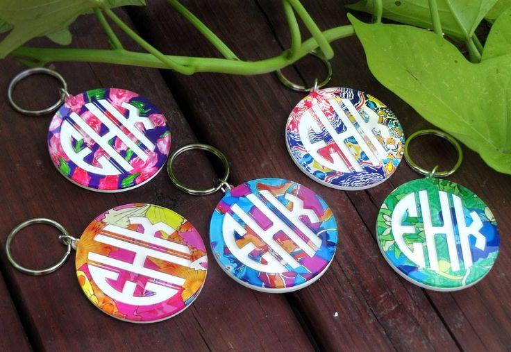 Cute acrylic monogram key chains now in a variety of Francesca Joy patterns.  stephaniemartin.mycapitalletters.com