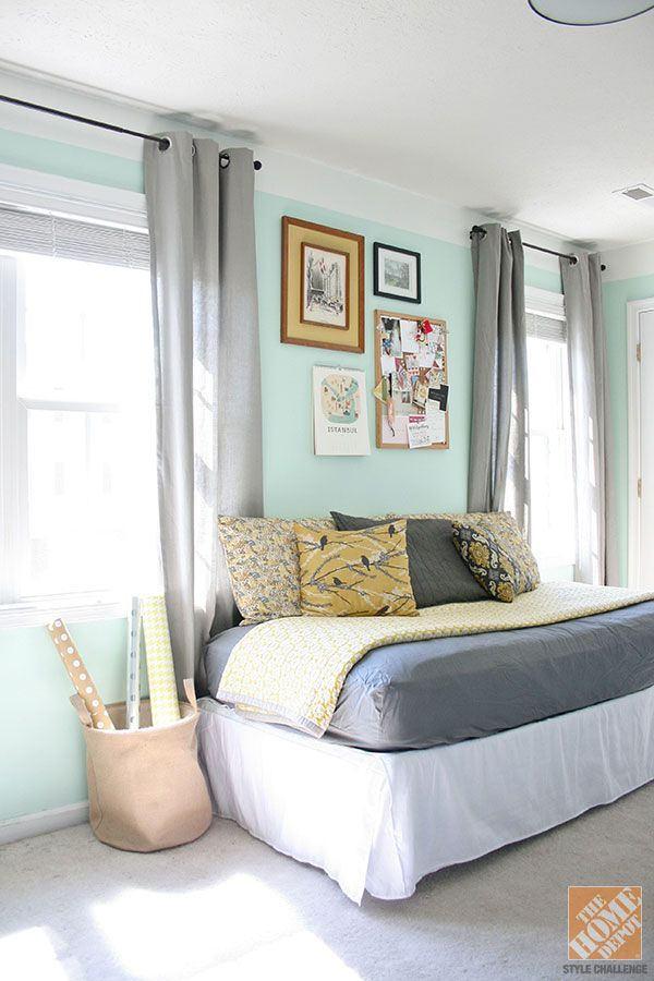 We love the way Carrie from Dream Green DIY blog turned a twin bed into a comfy day bed in her office! #repurposed