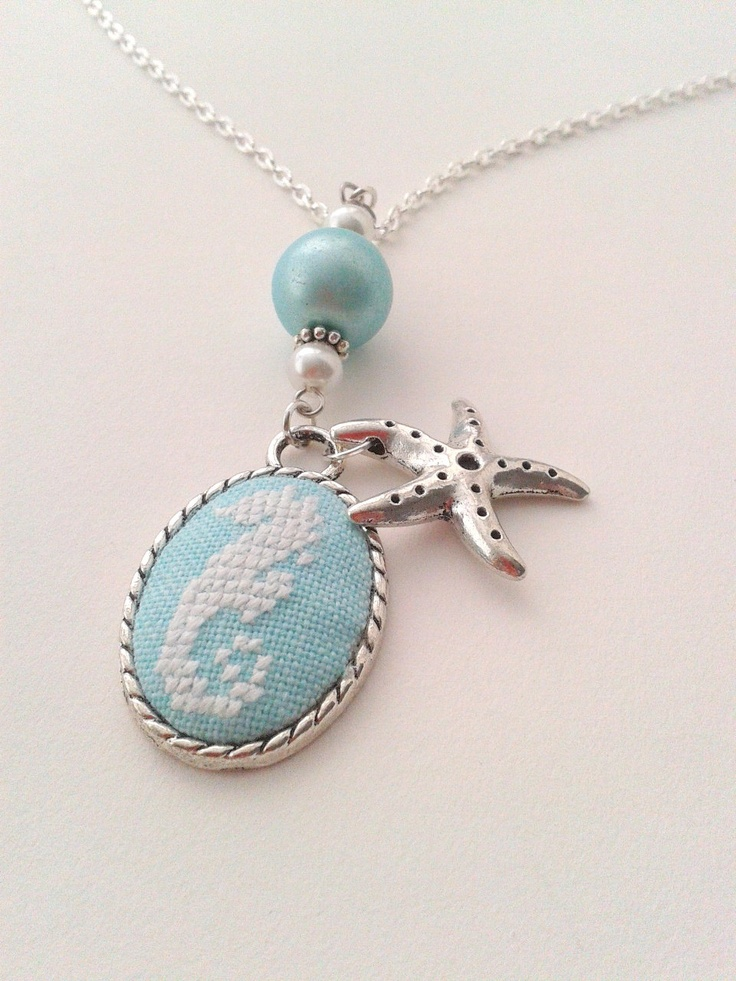 Sea horse hand embroidered pendant necklace. $25.00, via Etsy.