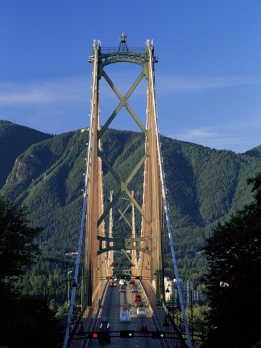 View Northwards Over the Lions Gate Bridge from Stanley Park, Vancouver, British Columbia, Canada