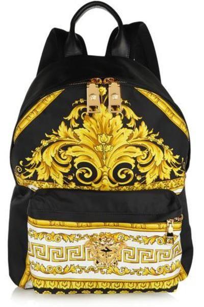 #covetmeLeather-trimmed printed sateen backpack #bag #covetme #versace