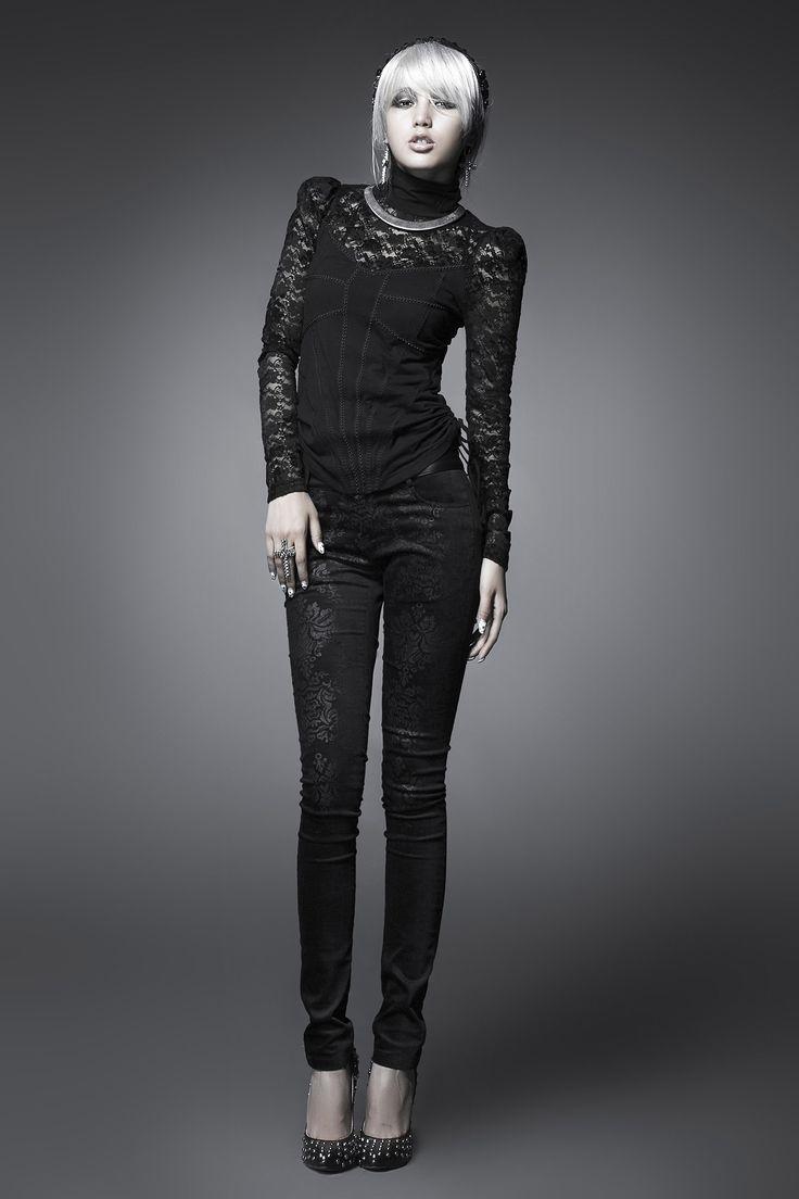 2014 Fashion Ladies Pants Women Punk Black Trousers From PUNK RAVE K-166