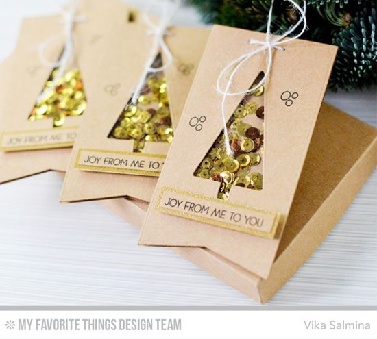 Handmade tags from Vika Salmina featuring Merry Everything stamp set, Oh Christmas Trees and Blueprints 13 Die-namics #mftstamps