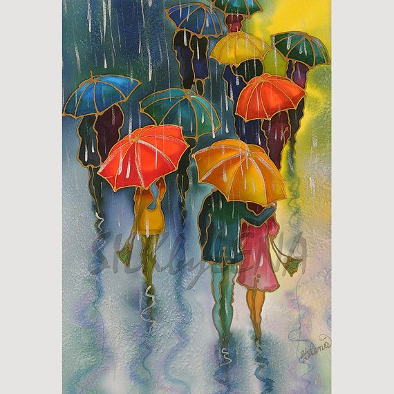 Items similar to Art  Print Of Original Painting, UMBRELLAS Series ,SILK Painting, Watercolor Painting, Giclee Print ,13inX19in on Etsy