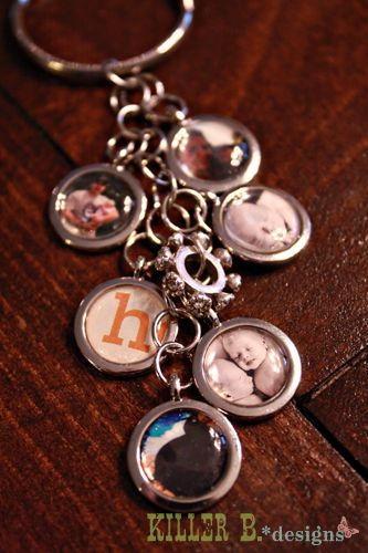 Tutorial: Keychains/Necklaces using jumprings, photos charms {via killerbdesigns.com}