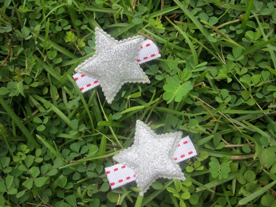 Hair Clippies Red White and Silver Stars by DelicateDaisy on Etsy, $3.00
