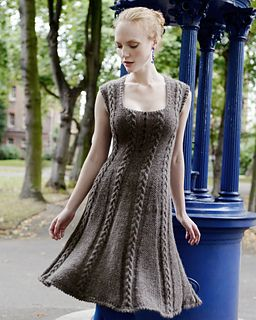 knitted dress with cables. If I ever find myself on a deserted island with the right needles and yarn, I'm going to knit this dress!
