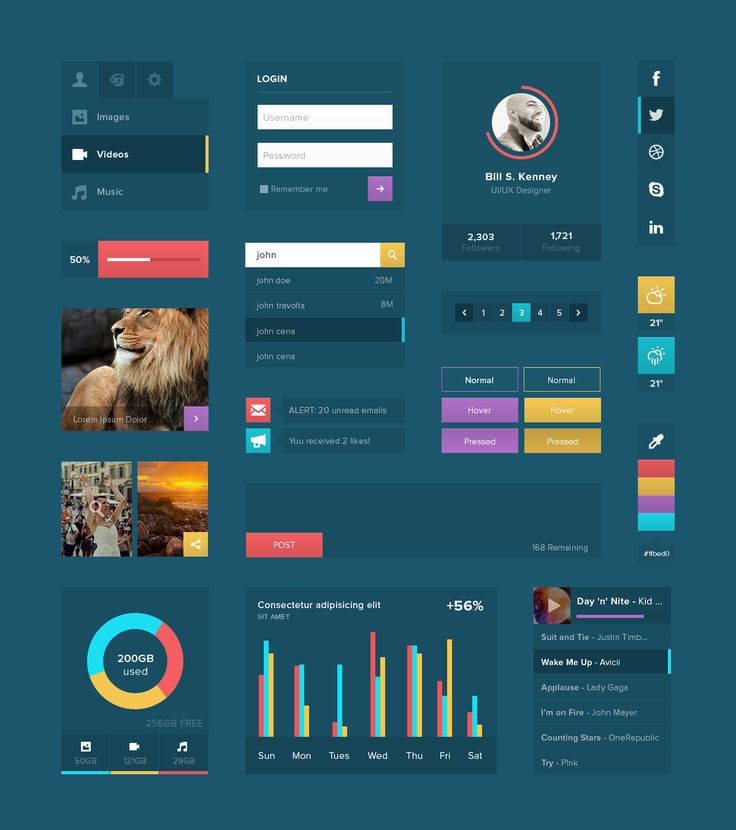Web UI Kit - Solid BG #webdesign